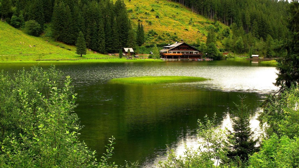 wallpaper hd lac maison
